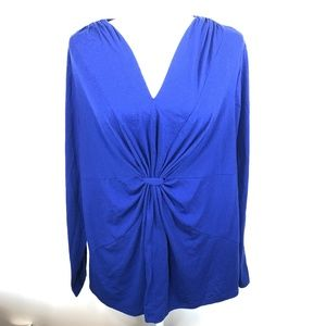 Just My Size 2X Royal Blue V-Neck LS Top Blouse